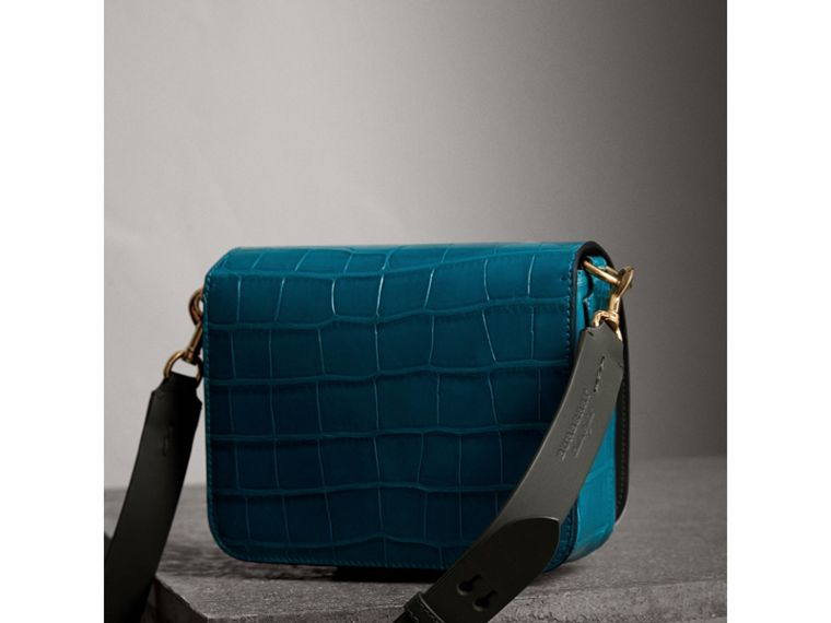 The Square Satchel in Alligator in Dark Teal - Women | Burberry United States - cell image 4