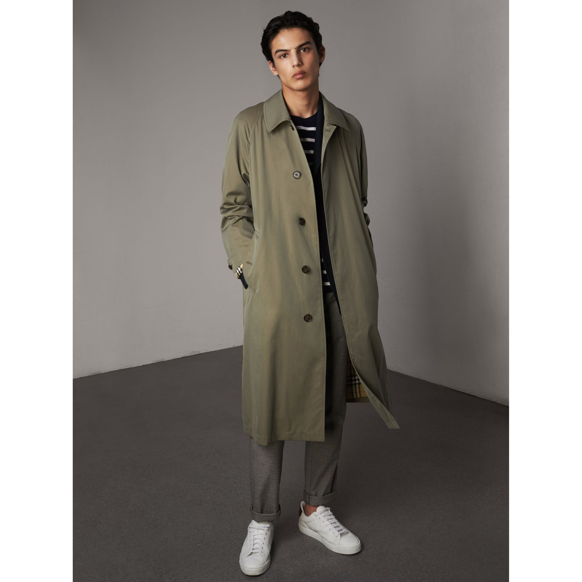 The Brighton – Longline Car Coat in Chalk Green - Men | Burberry - gallery image 1
