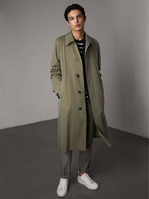 The Brighton – Longline Car Coat in Chalk Green - Men | Burberry