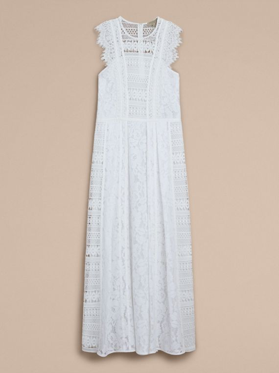Sleeveless Macramé Lace Dress in White - Women | Burberry - cell image 3