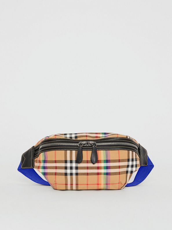 Medium Rainbow Vintage Check Bum Bag in Antique Yellow