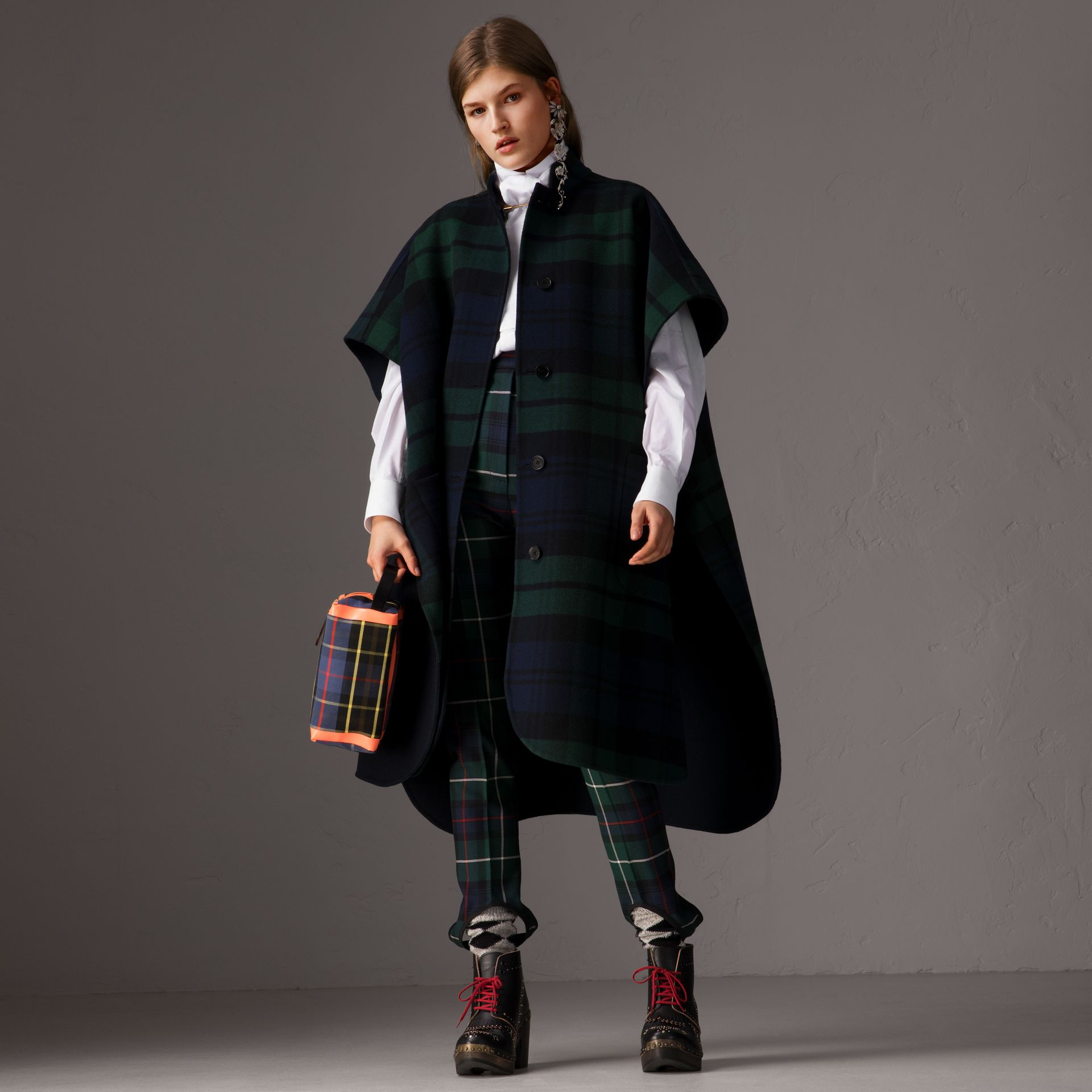 Reversible Tartan Wool Cashmere Poncho in Bright Navy - Women | Burberry - gallery image 0