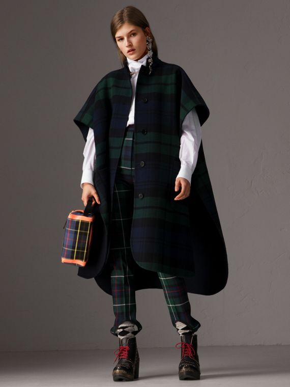 Reversible Tartan Wool Cashmere Poncho in Bright Navy