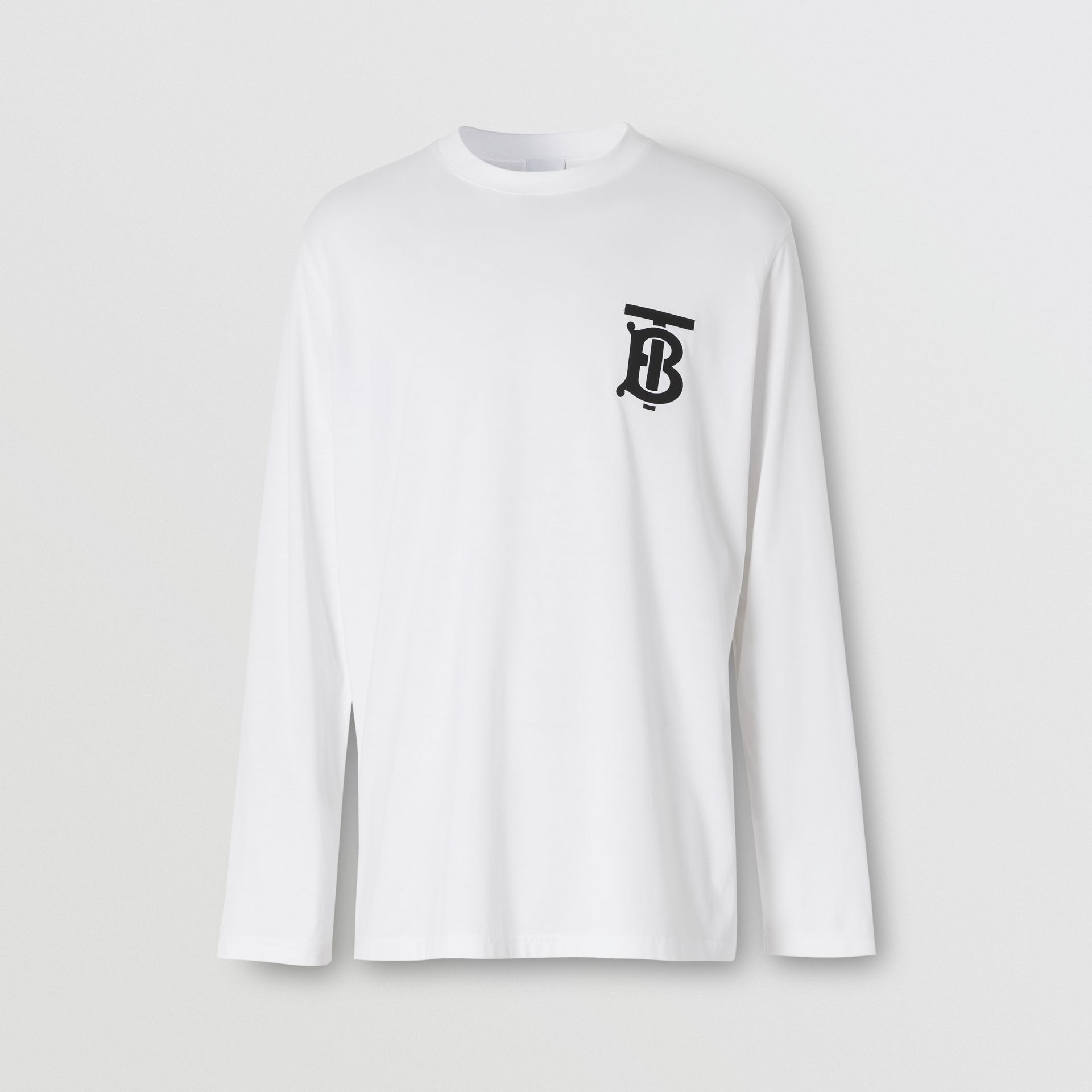 Long-sleeve Monogram Motif Cotton Top in White - Men | Burberry - gallery image 3