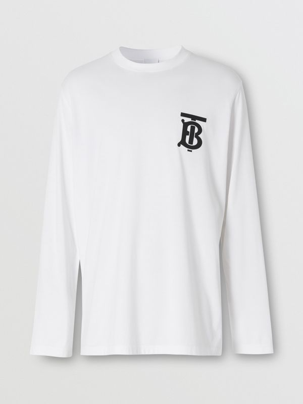 Long-sleeve Monogram Motif Cotton Top in White - Men | Burberry - cell image 3