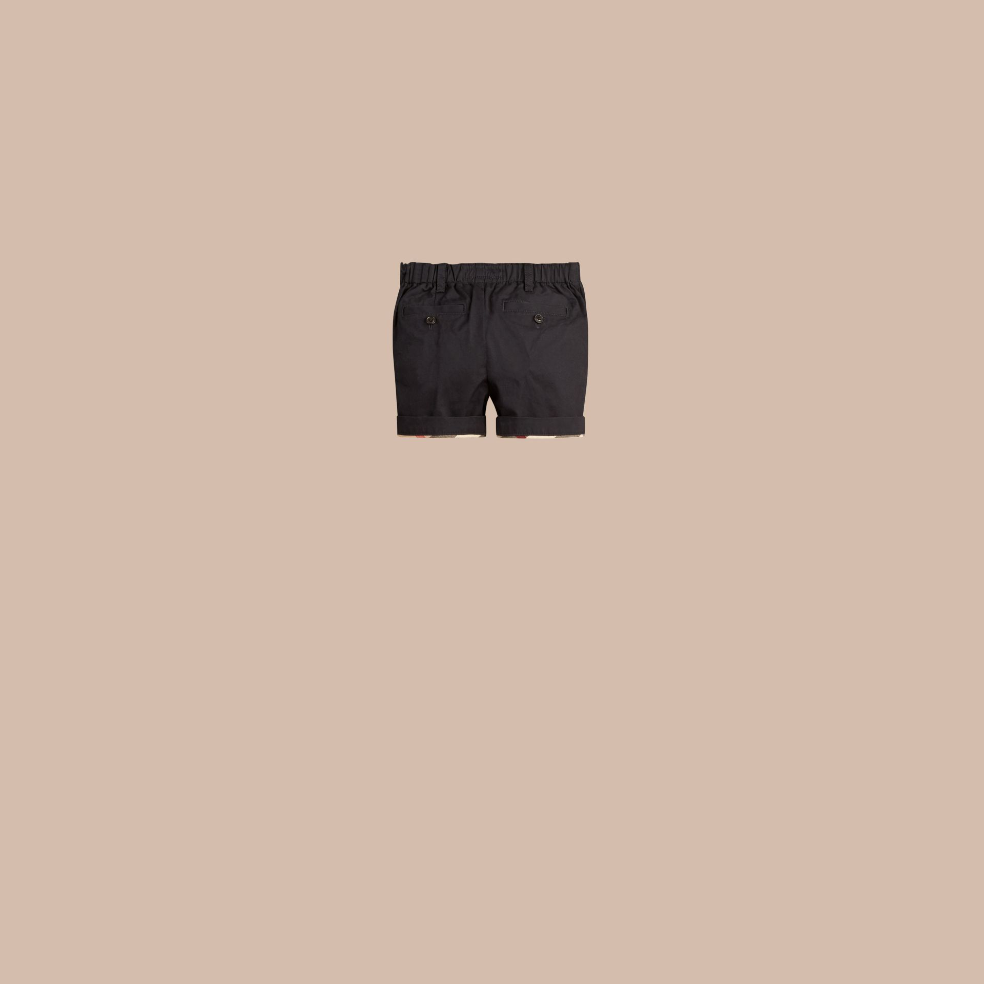 Check Detail Cotton Chino Shorts in Ink | Burberry Canada - gallery image 1