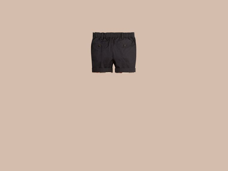 Check Detail Cotton Chino Shorts in Ink | Burberry - cell image 1