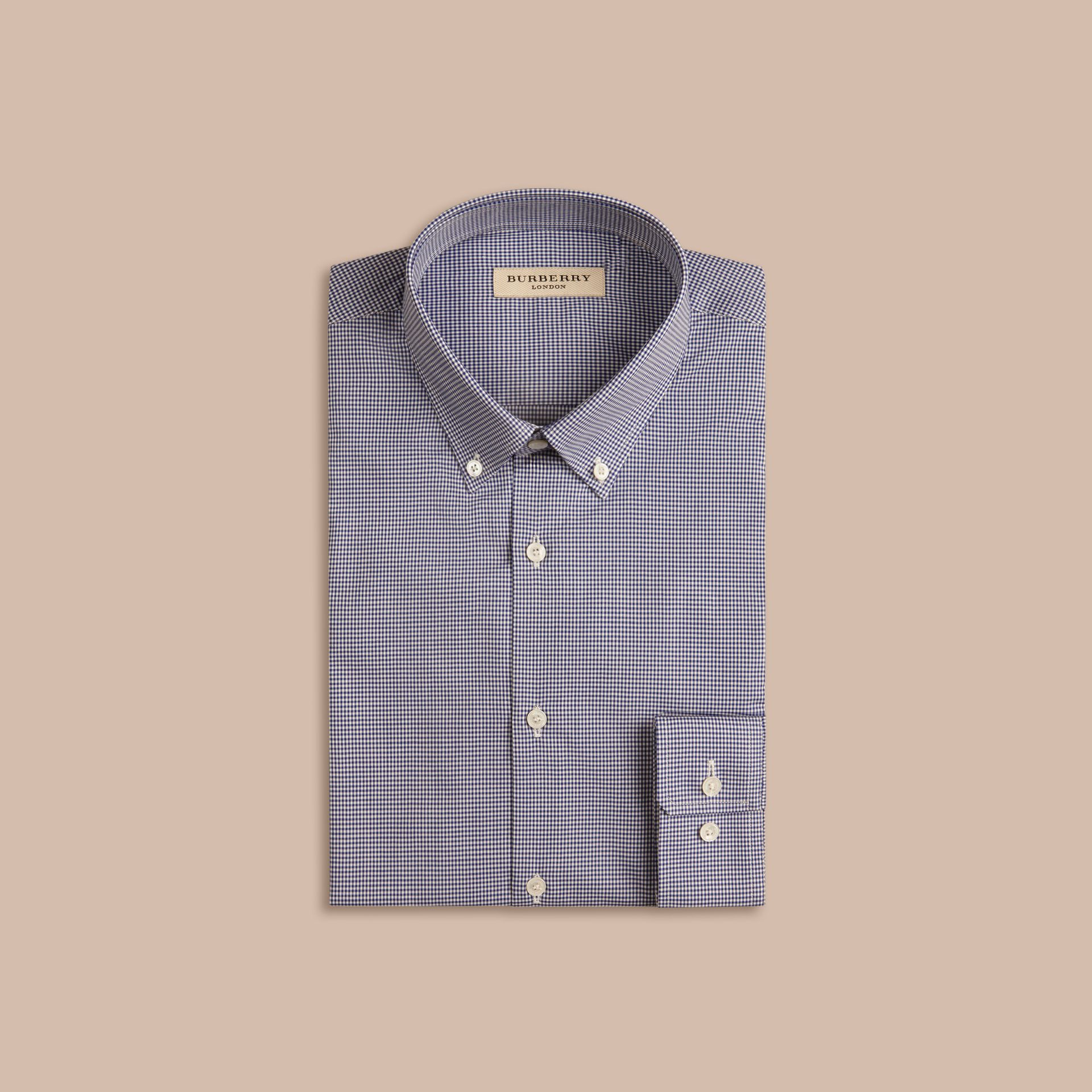 Slim Fit Button-down Collar Gingham Cotton Poplin Shirt in Dark Empire Blue - gallery image 4