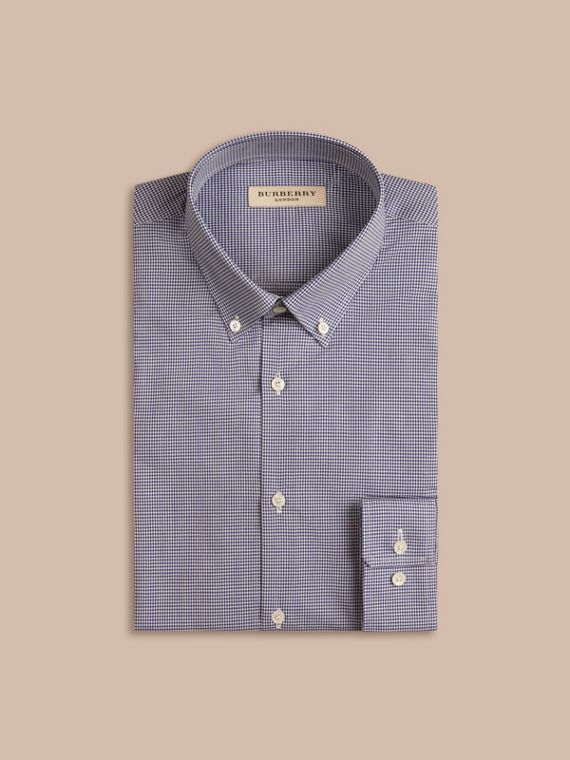 Camicia vichy sfiancata in popeline di cotone con colletto button-down Blu Impero Scuro