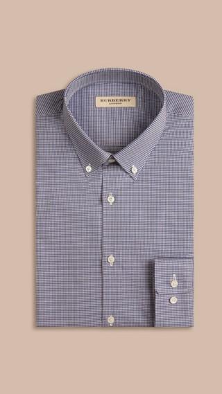 Slim Fit Button-down Collar Gingham Cotton Poplin Shirt