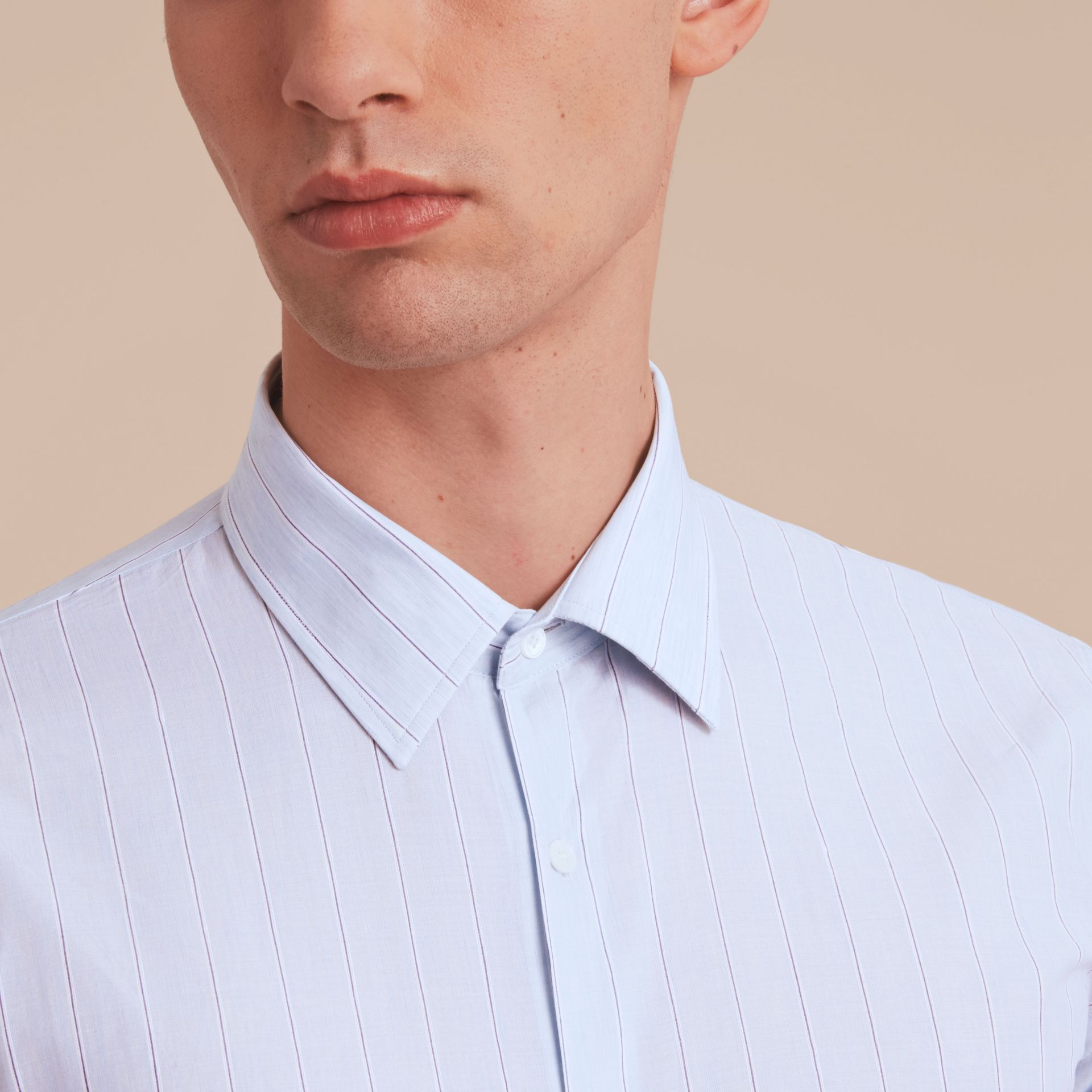 Modern Fit Cotton Linen Striped Shirt in Pale Opal Blue - Men | Burberry - gallery image 6