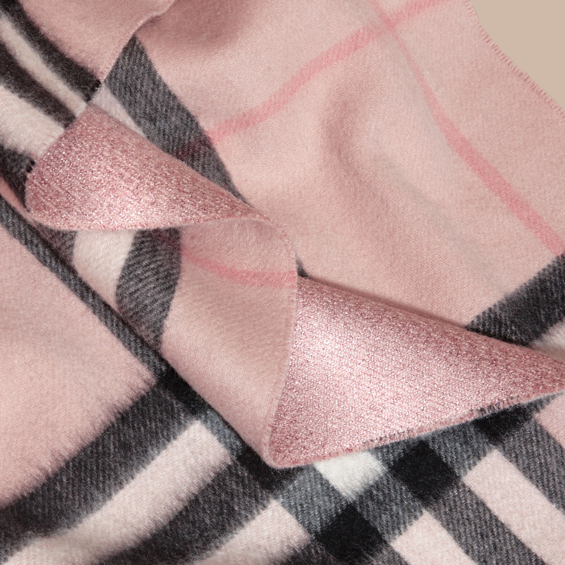 Ash rose Reversible Metallic Check Cashmere Scarf Rose - gallery image 5