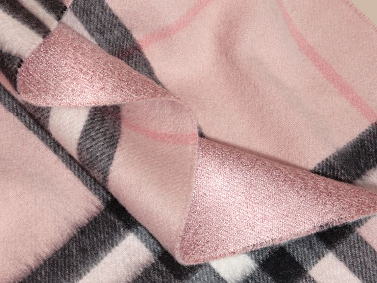 Reversible Metallic Check Cashmere Scarf in Ash Rose - cell image 4