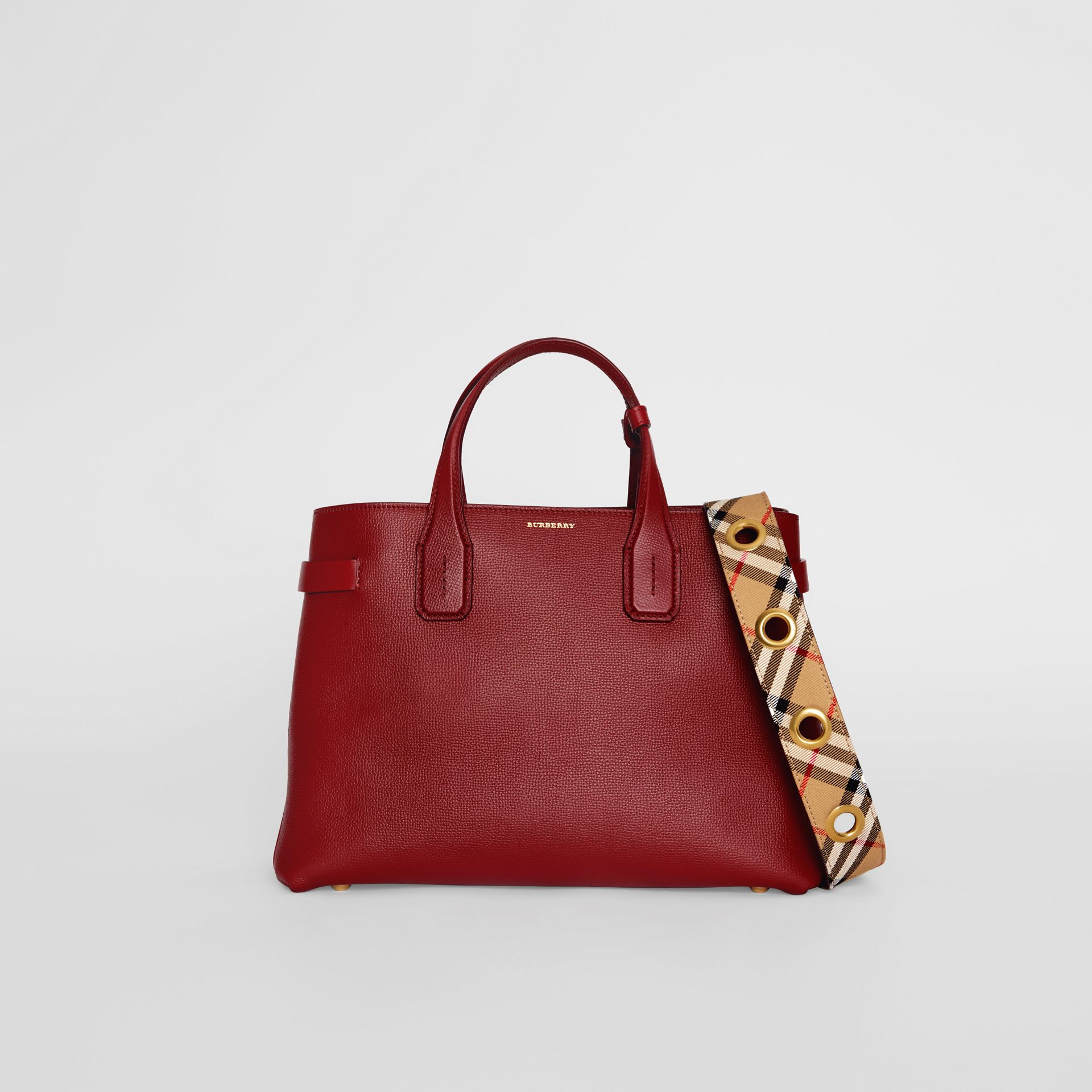 The Medium Banner in Leather with Grommeted Strap in Crimson - Women | Burberry United Kingdom - gallery image 0