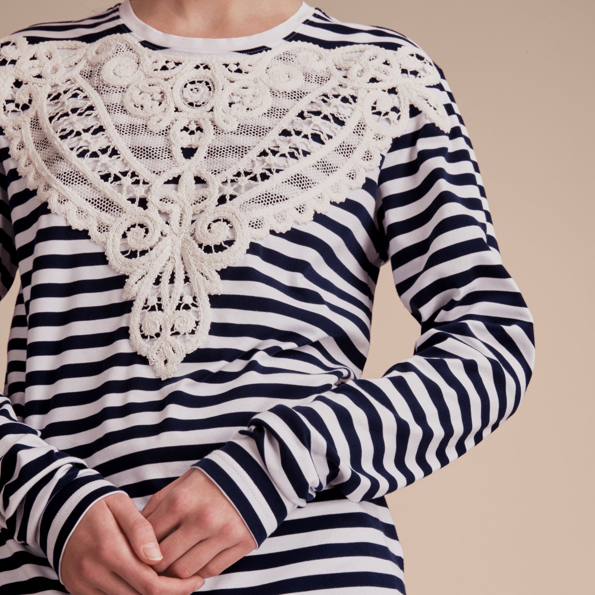 Unisex Lace Appliqué Breton Stripe Cotton Top in Indigo - Women | Burberry - gallery image 5