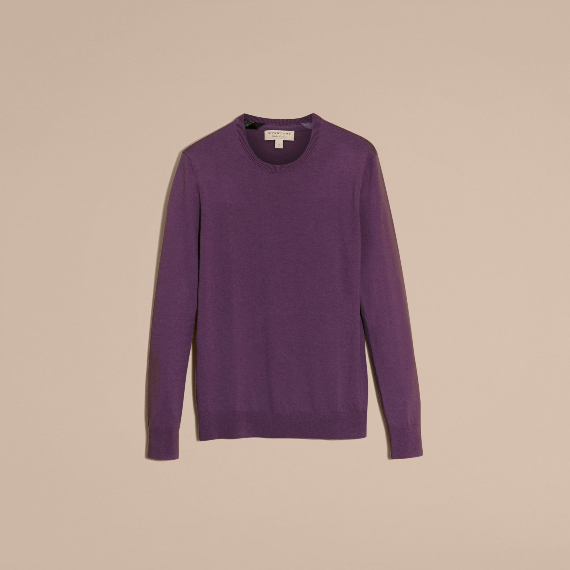 Dusty lilac Lightweight Crew Neck Cashmere Sweater with Check Trim Dusty Lilac - gallery image 4
