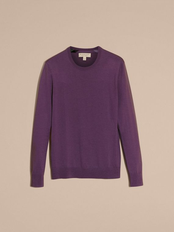Dusty lilac Lightweight Crew Neck Cashmere Sweater with Check Trim Dusty Lilac - cell image 3