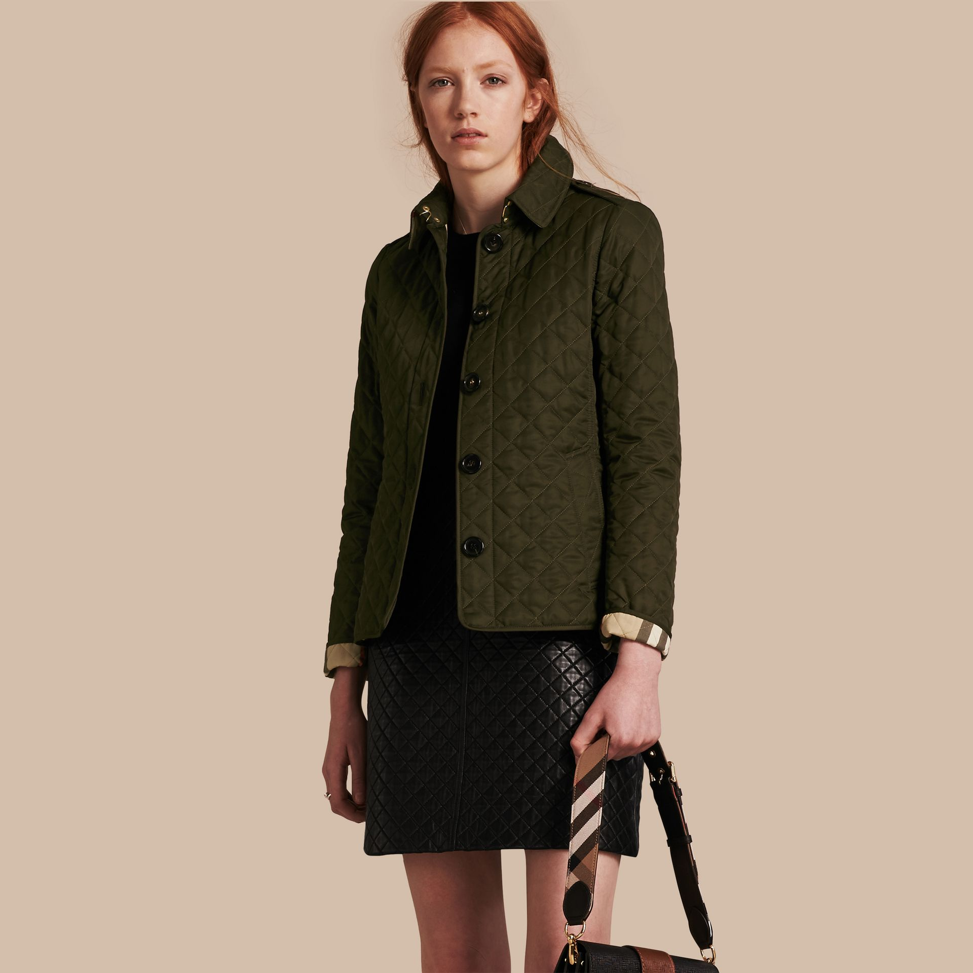 Diamond Quilted Jacket in Dark Olive - gallery image 1
