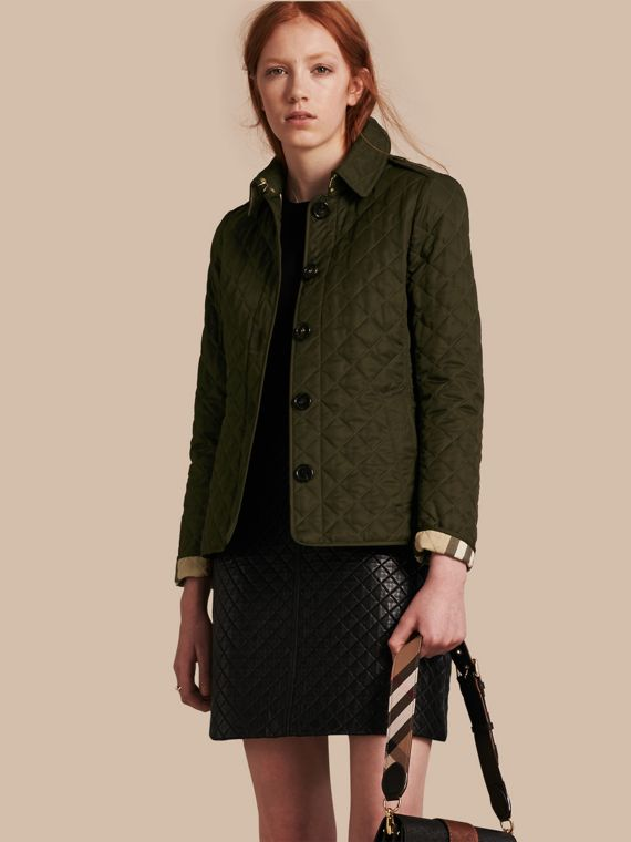 Diamond Quilted Jacket Dark Olive
