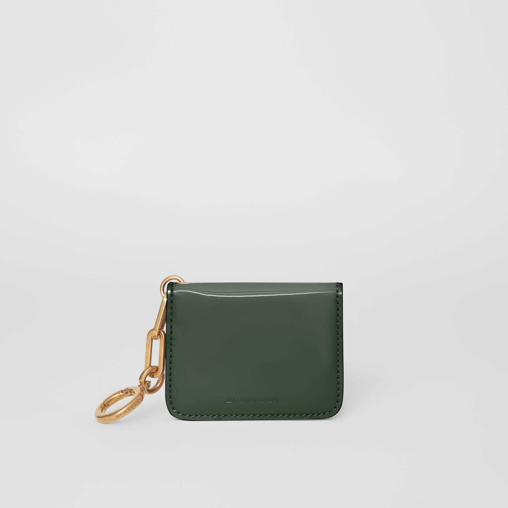 Link Detail Patent Leather ID Card Case Charm in Dark Forest Green - Women | Burberry United States - gallery image 5