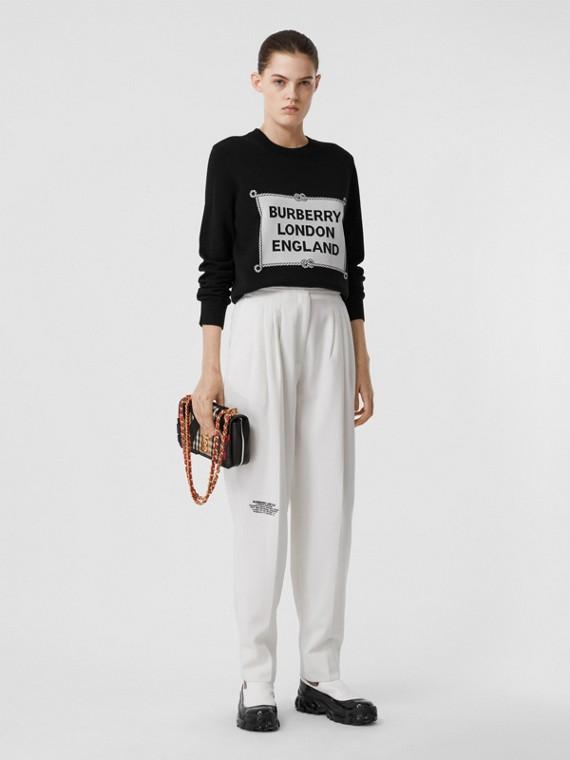 Suéter de lã merino com aparelho náutico em intársia (Preto)