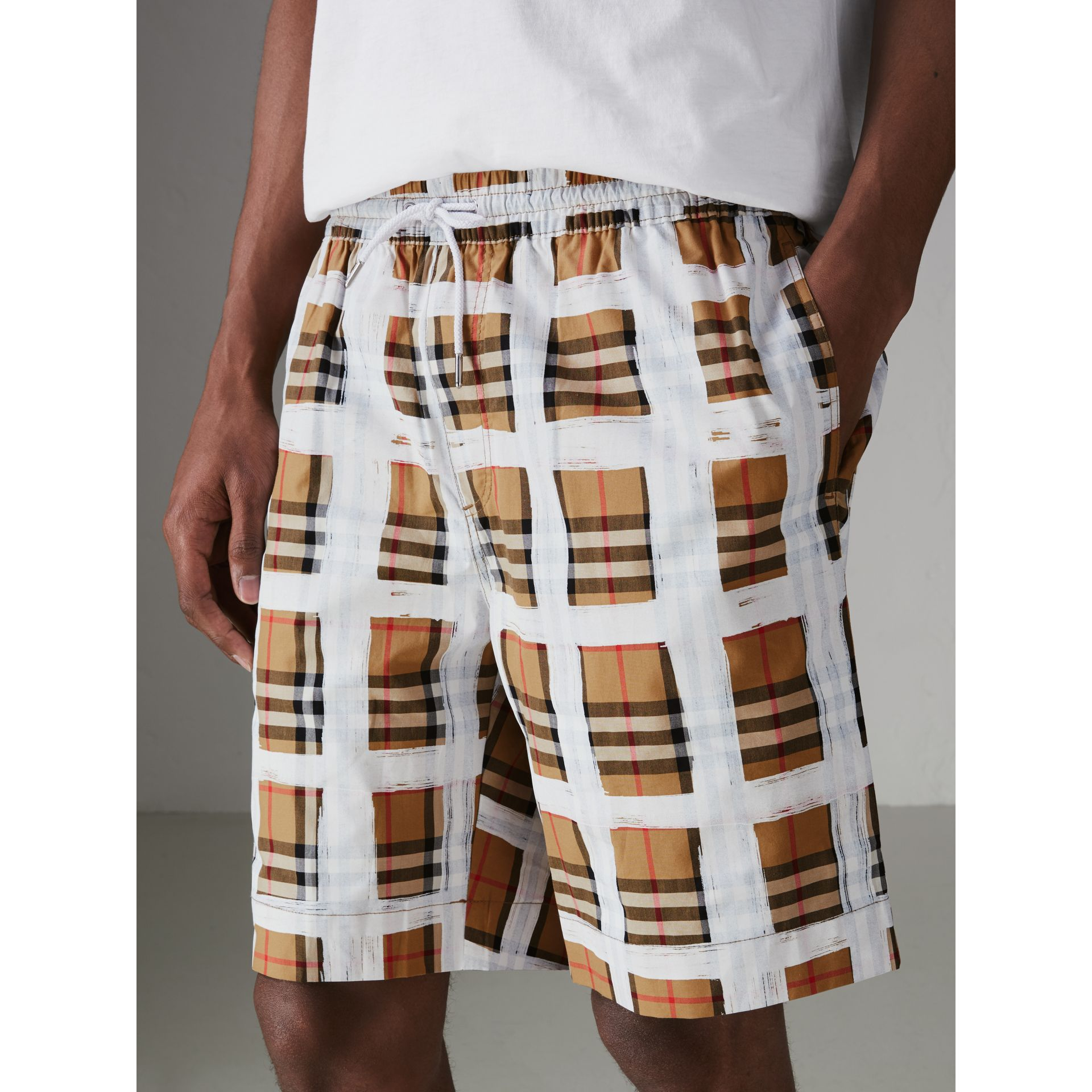Painted Vintage Check Cotton Drawcord Shorts in Antique Yellow - Men | Burberry Canada - gallery image 1