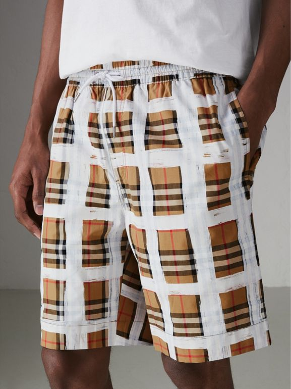 Painted Vintage Check Cotton Drawcord Shorts in Antique Yellow - Men | Burberry Singapore - cell image 1