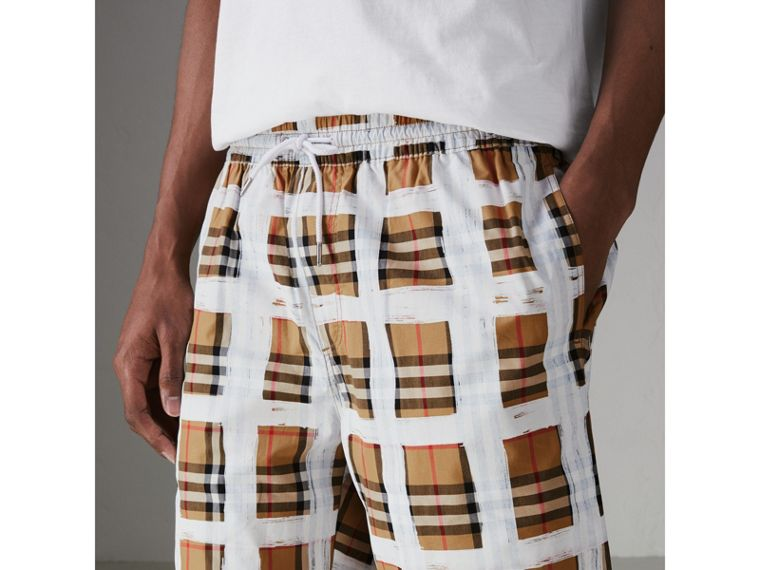 Painted Vintage Check Cotton Drawcord Shorts in Antique Yellow - Men | Burberry Hong Kong - cell image 1