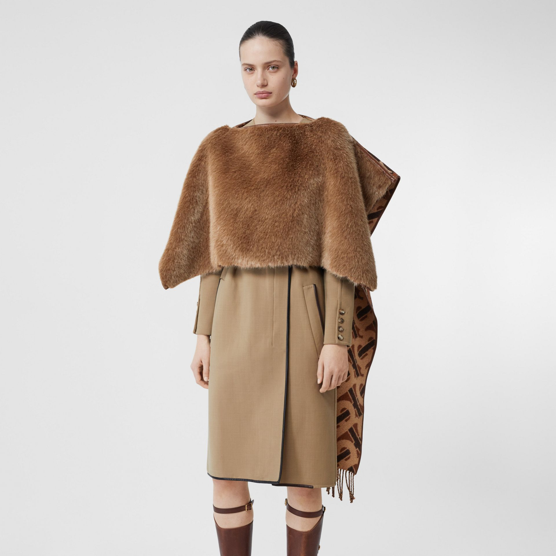 Faux Fur Detail Monogram Merino Wool Blend Cape in Dark Chestnut Brown - Women | Burberry United States - gallery image 5