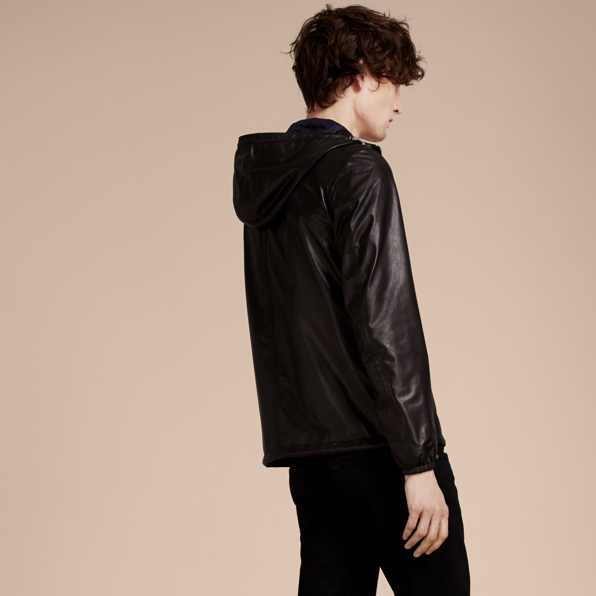 Black Reversible Lambskin Jacket with Hood - gallery image 3