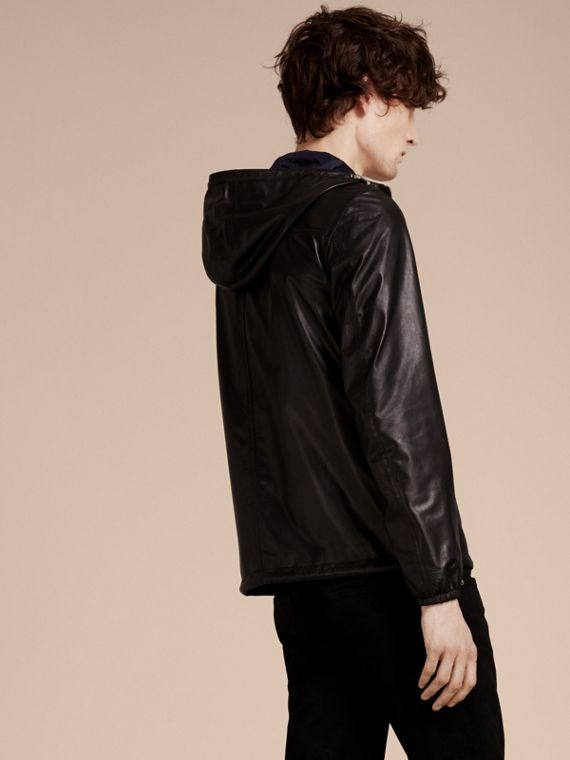 Black Reversible Lambskin Jacket with Hood - cell image 2