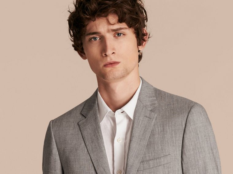 Slim Fit Travel Tailoring Linen Wool Blend Suit - Men | Burberry Singapore - cell image 4