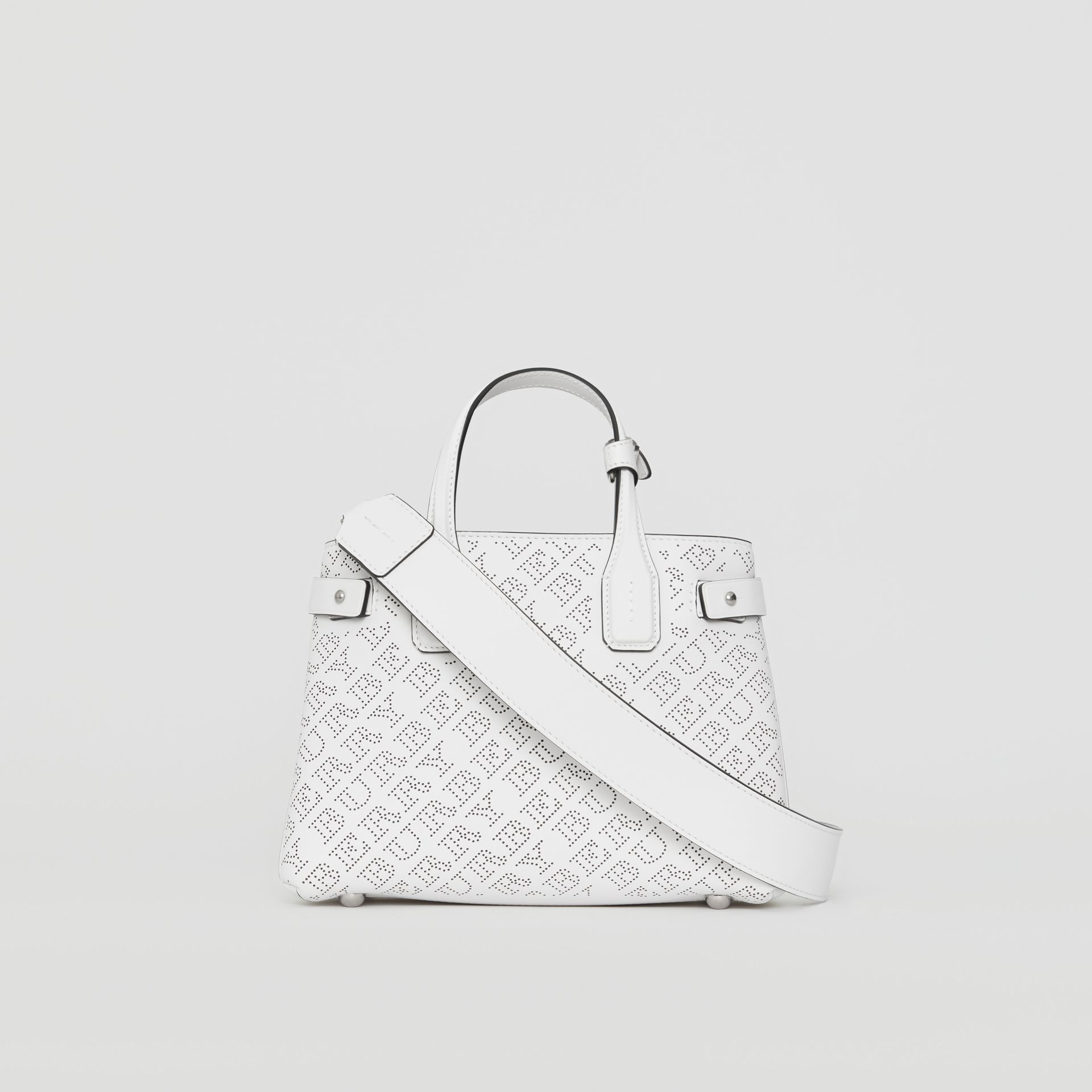 The Small Banner in Perforated Logo Leather in Chalk White - Women | Burberry United States - gallery image 7