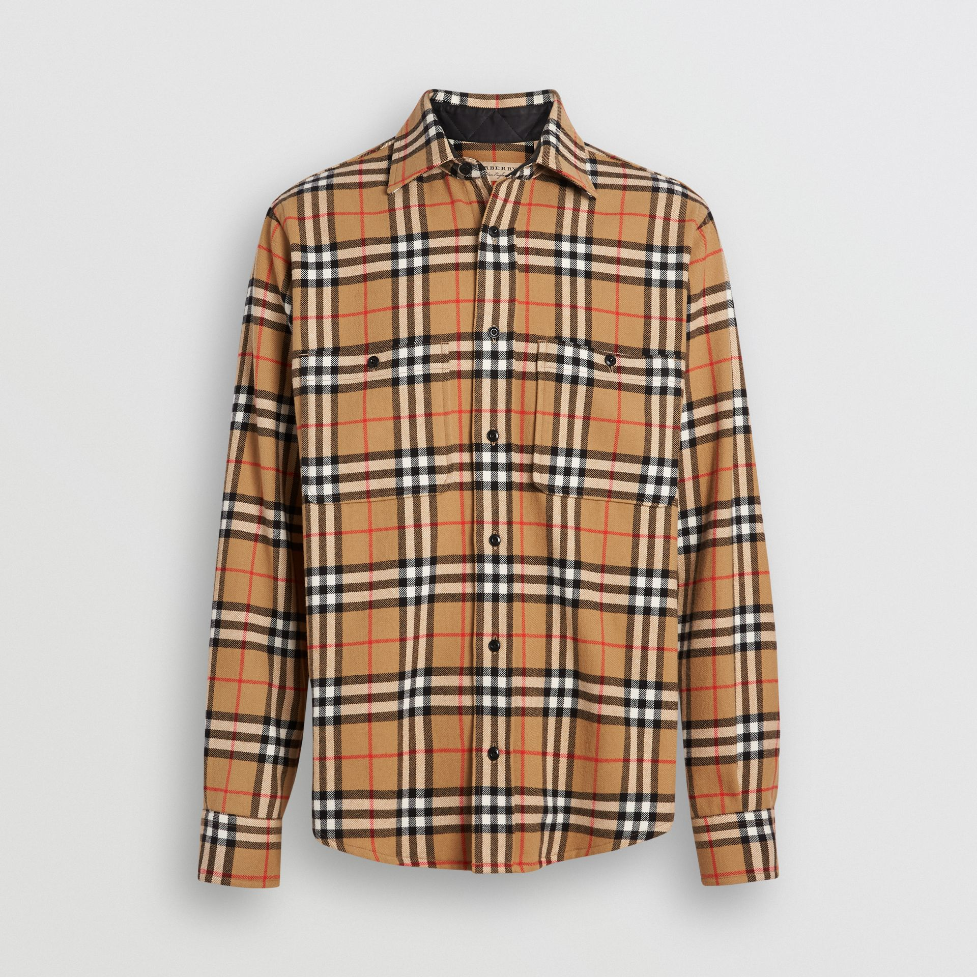 Vintage Check Cotton Flannel Shirt in Antique Yellow - Men | Burberry Australia - gallery image 3