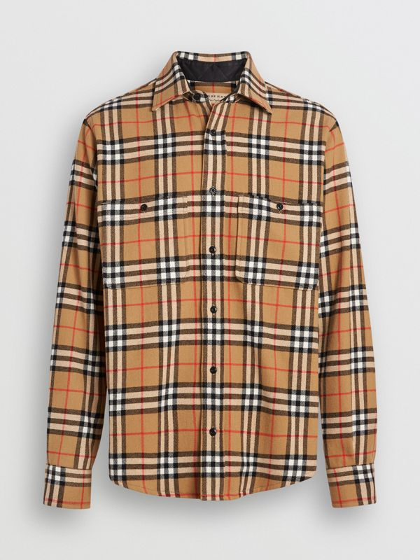 Vintage Check Cotton Flannel Shirt in Antique Yellow - Men | Burberry Singapore - cell image 3
