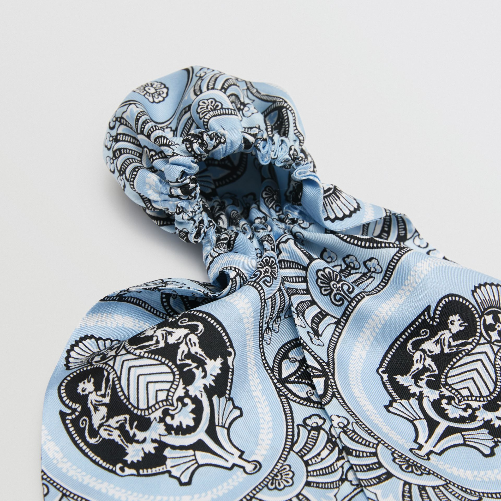 Antique Print Silk Hair Scarf in Pale Blue - Women | Burberry Canada - gallery image 1