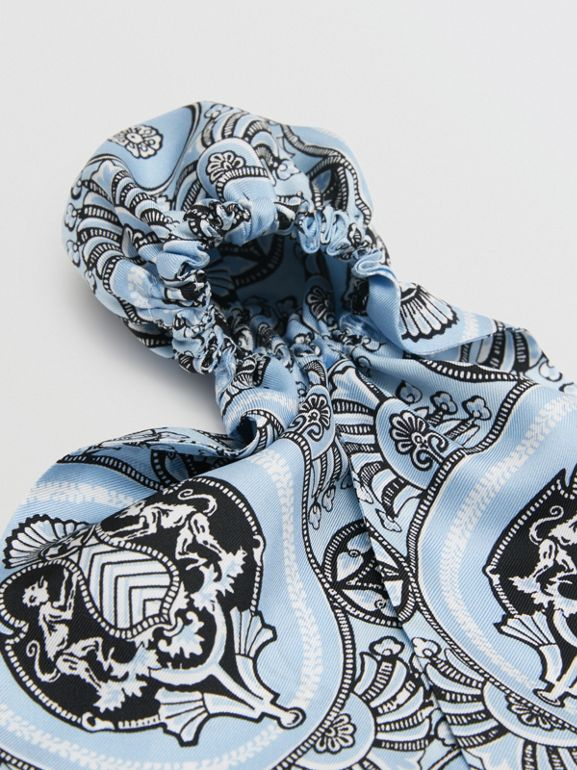 Antique Print Silk Hair Scarf in Pale Blue - Women | Burberry Canada - cell image 1