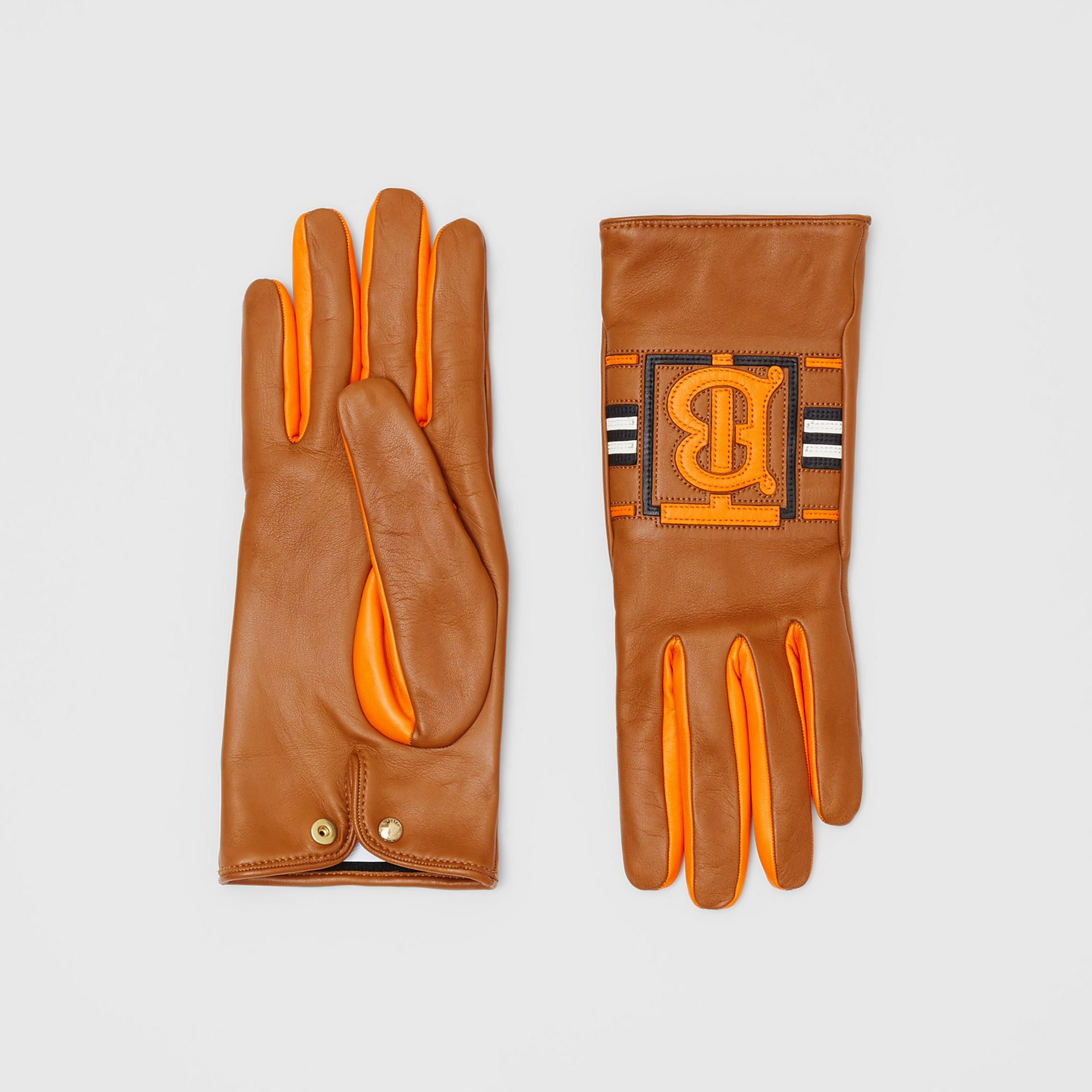 Monogram Intarsia Cashmere-lined Lambskin Gloves in Camel/bright Orange | Burberry United Kingdom - gallery image 0