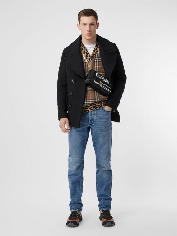 Pea coat in misto lana (Nero)
