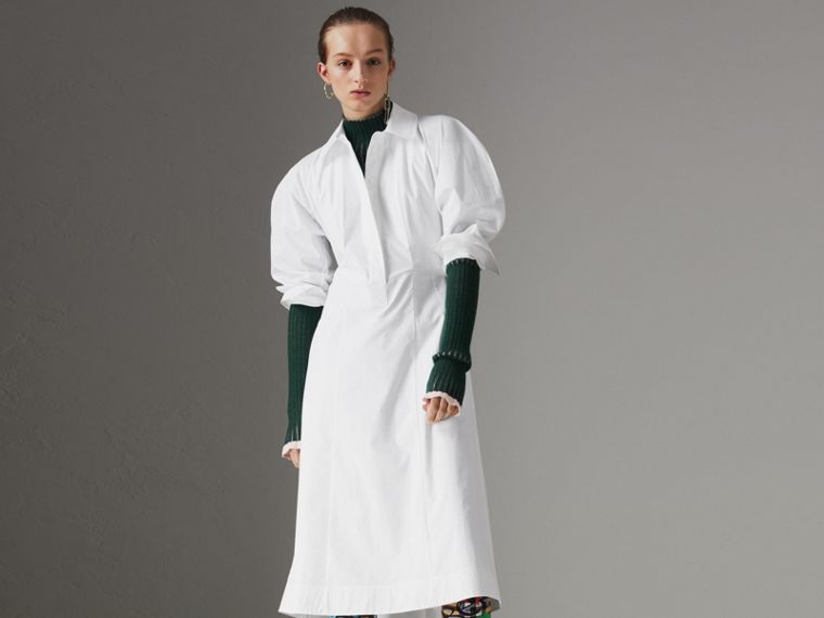Abito chemisier in cotone stretch a pannelli (Bianco) - Donna | Burberry - cell image 4