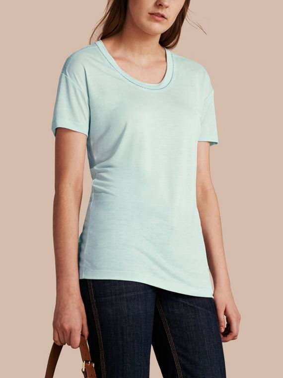 Scoop Neck Lyocell T-shirt Light Green Opal