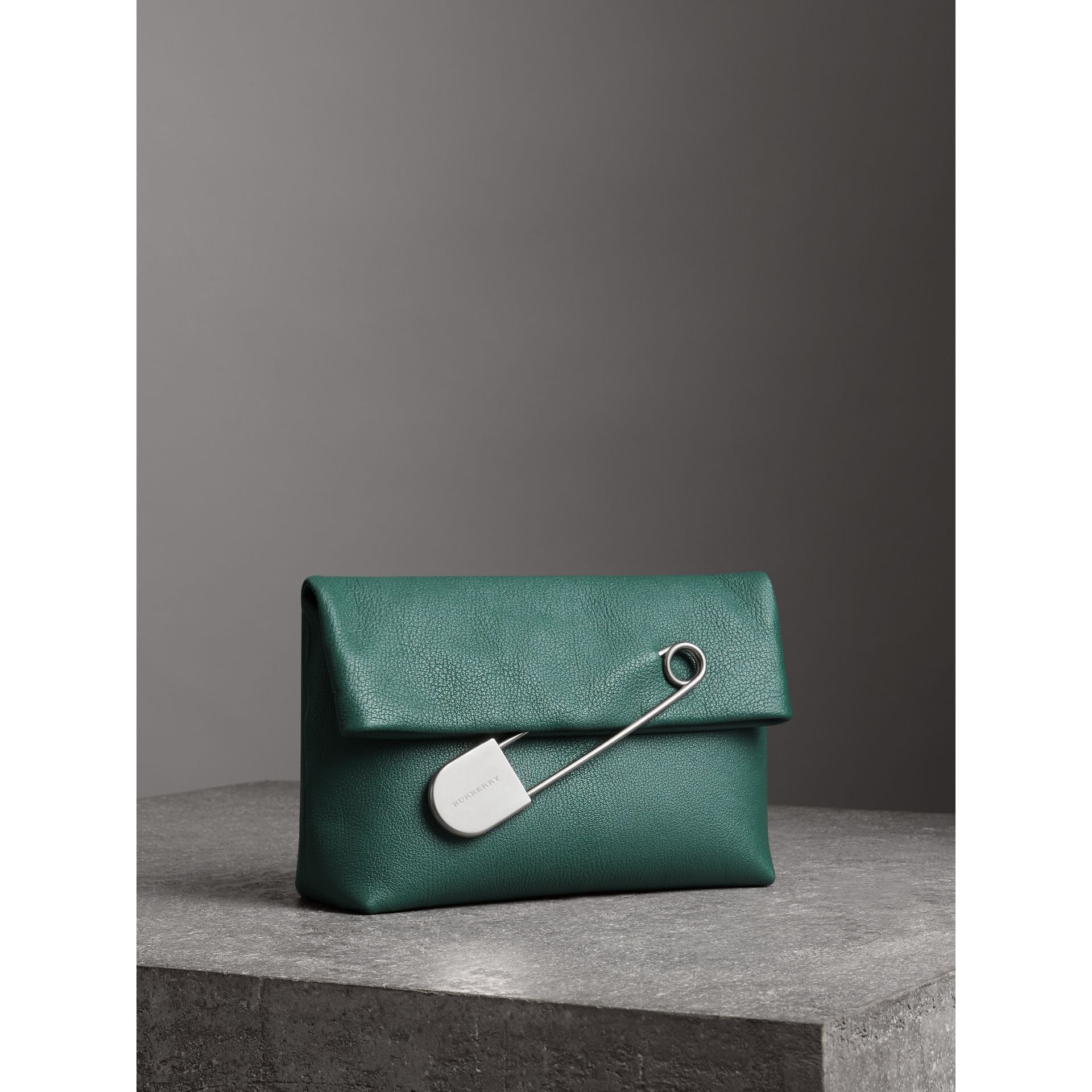 The Medium Pin Clutch in Leather in Sea Green - Women | Burberry Canada - gallery image 6
