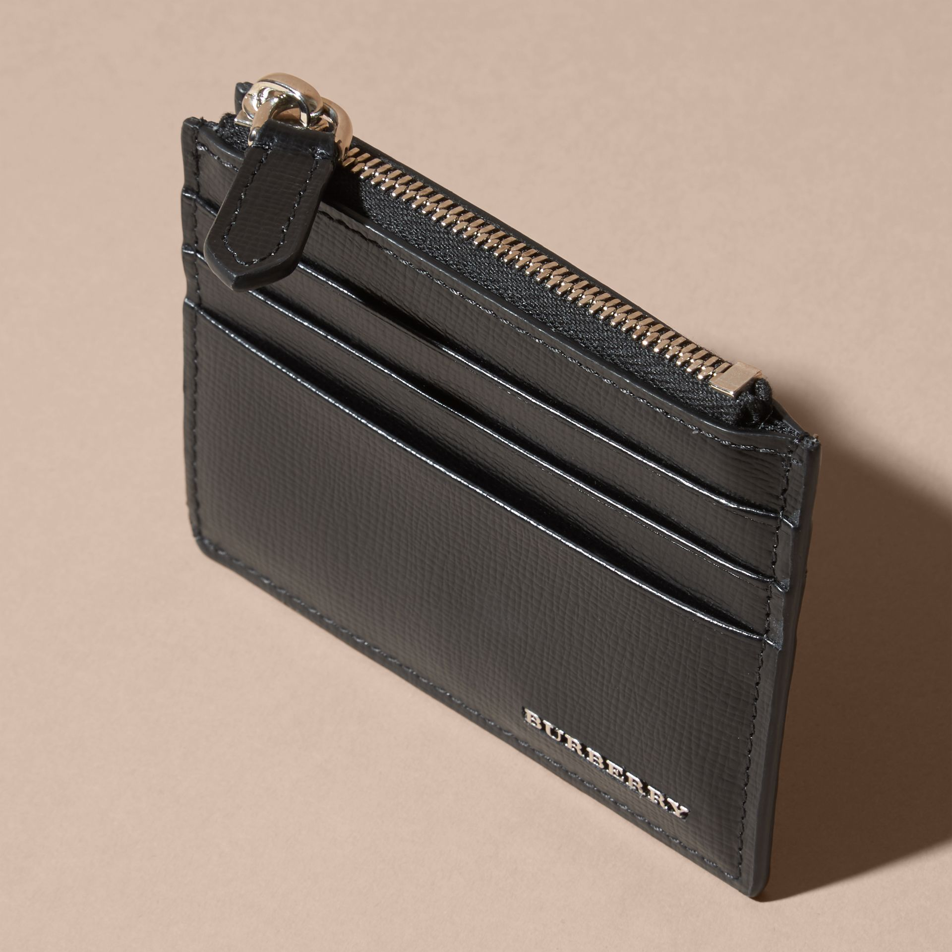 London Leather Zip-top Card Case in Black | Burberry - gallery image 3