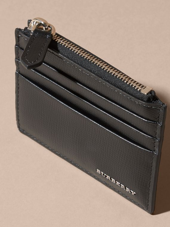 London Leather Zip-top Card Case in Black | Burberry - cell image 2