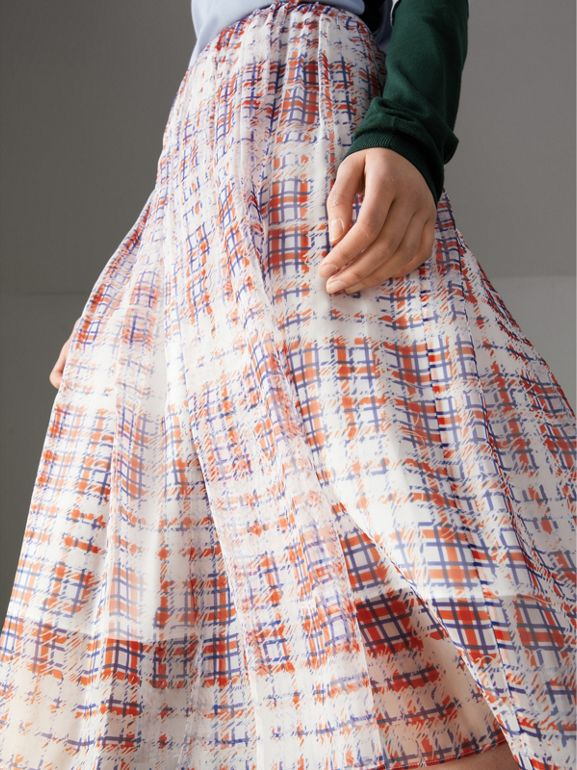 Scribble Check Print Silk Skirt in Military Red - Women | Burberry Hong Kong - cell image 1