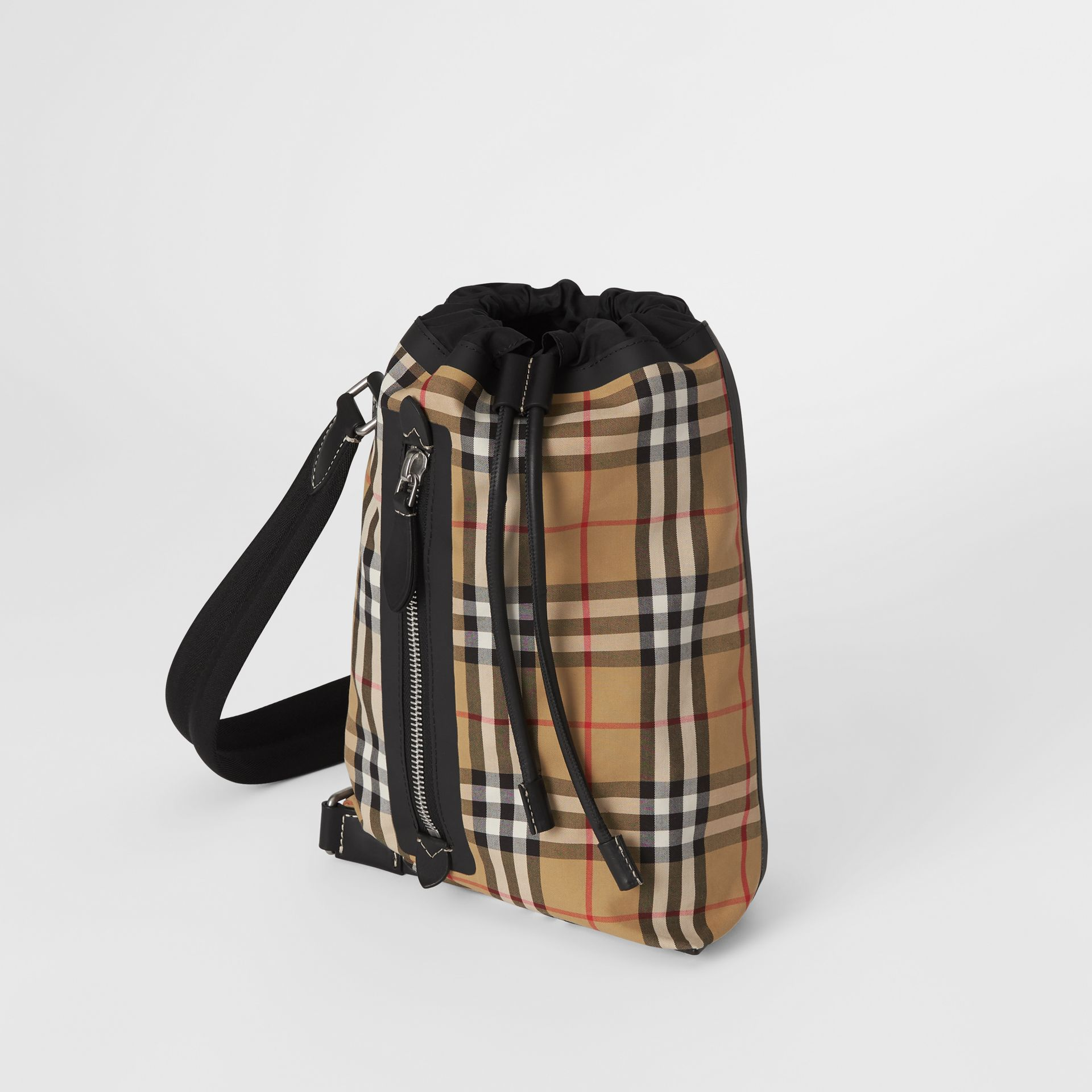 Small Vintage Check Canvas Duffle Bag in Antique Yellow - Women | Burberry United Kingdom - gallery image 4