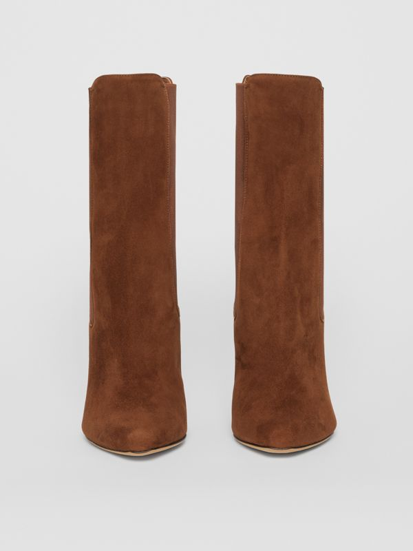 D-ring Detail Suede Ankle Boots in Tan - Women | Burberry Singapore - cell image 3