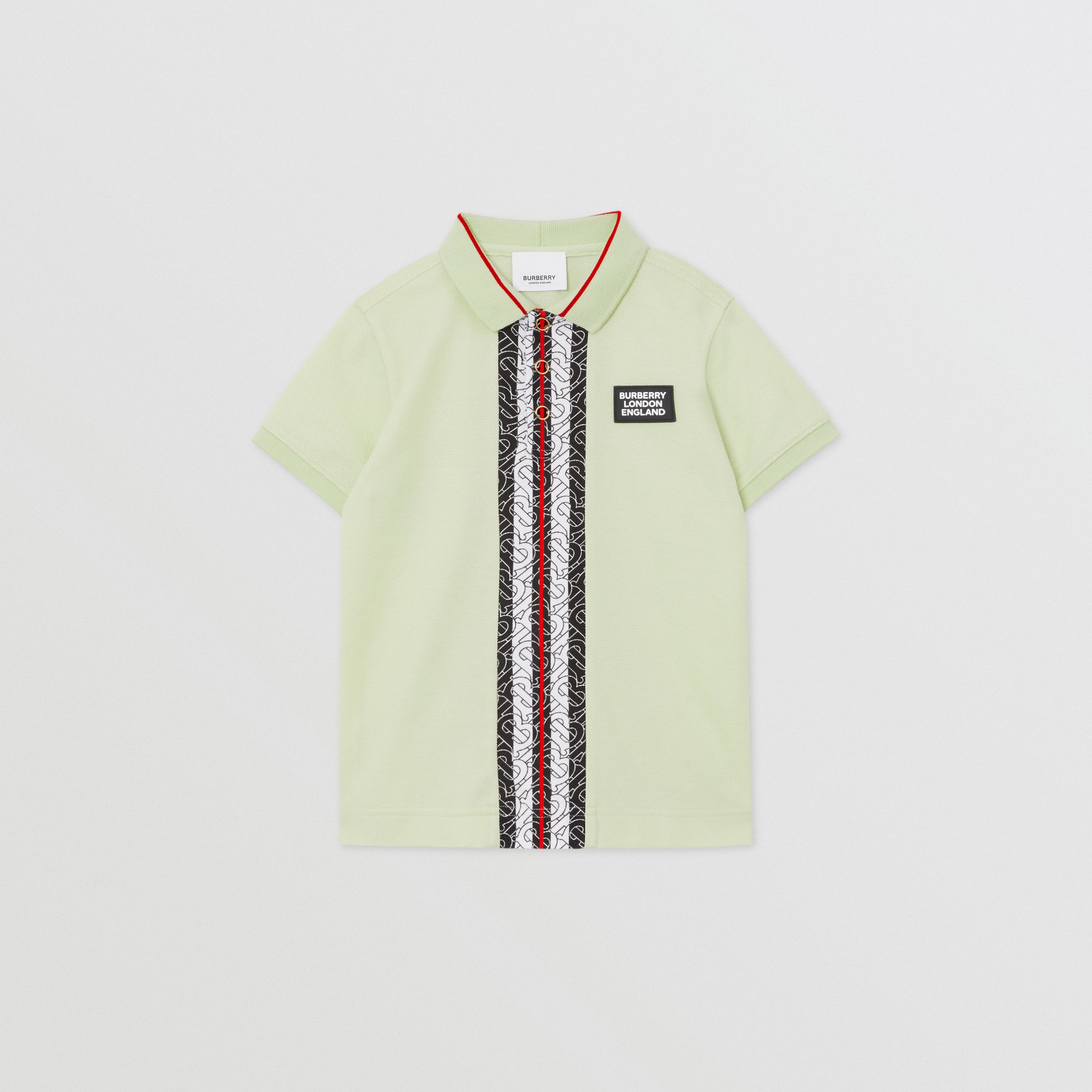 Monogram Stripe Print Cotton Piqué Polo Shirt in Pistachio | Burberry - 1