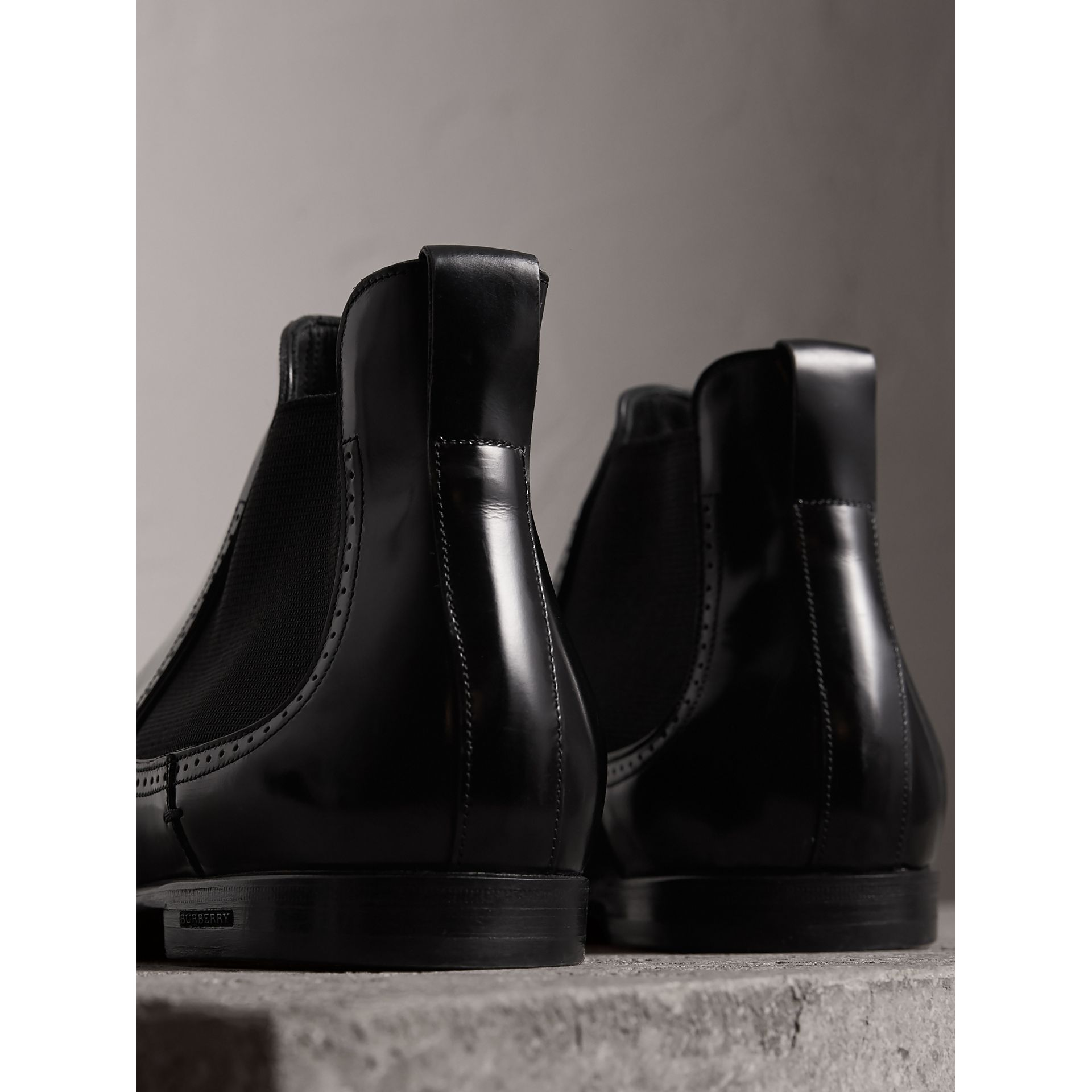 Perforated Detail Leather Chelsea Boots in Black - Men | Burberry - gallery image 3