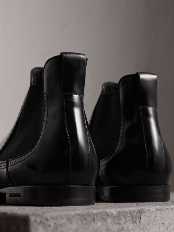 Perforated Detail Leather Chelsea Boots in Black - Men | Burberry Canada - cell image 2